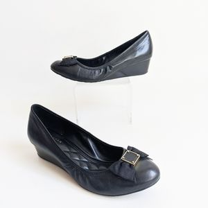 Cole Haan Tali Black Leather Demi-Wedge Pumps